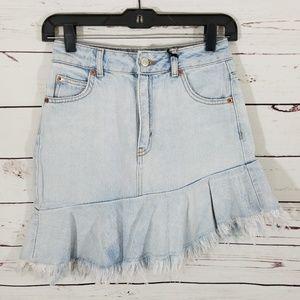Topshop Frayed Hem Asymmetrical Denim Skirt